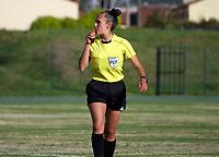 CHIA -COLOMBIA,19-10-2020:Amanda Valenzuela referee central. Fortaleza CEIF y Llaneros  en partido por la fecha 2 de la Liga femeina BetPlay DIMAYOR I 2020 jugado en el estadio de Chia. /Amanda Valenzuela  central referee.Fortaleza CEIF and Llaneros in match for the date 2 BetPlay DIMAYOR women´s  League I 2020 played at Chia stadium in Chia. Photo: VizzorImage/ Samuel Norato / Contribuidor