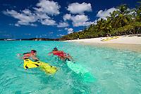 Snorkelers at Honeymoon Beach<br /> Virgin Islands National Park<br /> St. John<br /> U.S. Virgin Islands