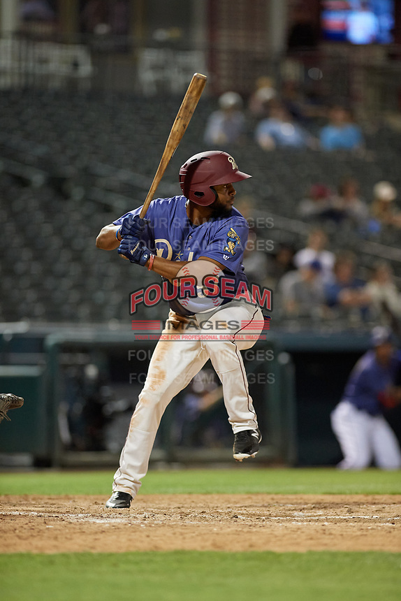 Frisco RoughRiders Franklin Rollin (57) bats during a Texas League game against the Springfield Cardinals on May 7, 2019 at Dr Pepper Ballpark in Frisco, Texas.  (Mike Augustin/Four Seam Images)