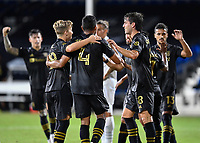 LAKE BUENA VISTA, FL - JULY 18: LAFC celebrate a goal during a game between Los Angeles Galaxy and Los Angeles FC at ESPN Wide World of Sports on July 18, 2020 in Lake Buena Vista, Florida.