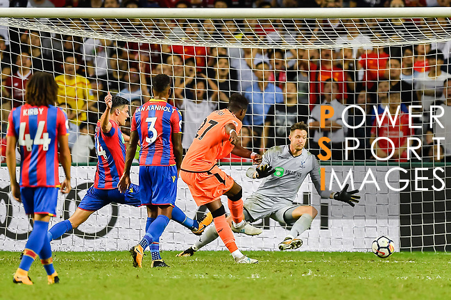 Liverpool FC forward Divock Origi (2nd right) shoots and scores during the Premier League Asia Trophy match between Liverpool FC and Crystal Palace FC at Hong Kong Stadium on 19 July 2017, in Hong Kong, China. Photo by Weixiang Lim / Power Sport Images