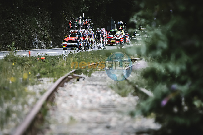 The breakaway during Stage 17 of the 2021 Tour de France, running 178.4km from Muret to Saint-Lary-Soulan Col du Portet, France. 14th July 2021.  <br /> Picture: A.S.O./Pauline Ballet | Cyclefile<br /> <br /> All photos usage must carry mandatory copyright credit (© Cyclefile | A.S.O./Pauline Ballet)