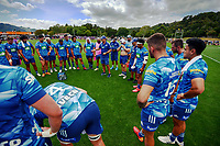 The Blues huddle before the Super Rugby Aotearoa preseason match between the Hurricanes and Blues at Maidstone Park in Upper Hutt, New Zealand on Saturday, 13 February 2020. Photo: Dave Lintott / lintottphoto.co.nz