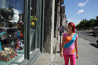 Montreal quebec CANADA - july 02, 2012 - MODEL RELEASED ILLUSTRATION - adult female walking around in Old-Montreal