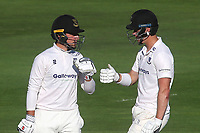Sussex batsmen, Tom Haines (left) and Ali Orr (right) shake hands at the final whistle after a century opening partnership during Sussex CCC vs Middlesex CCC, LV Insurance County Championship Division 3 Cricket at The 1st Central County Ground on 7th September 2021