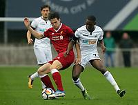 Pictured: Jordan Garrick of Swansea (R).  Friday 11 August 2017<br /> Re: Premier League 2, Division 1, Swansea City U23 v Liverpool U23 at the Landore Training Ground, Swansea, UK