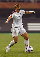 Lori Chalupny. The USA defeated England, 3-0 during the quarterfinals of the FIFA Women's World Cup in Tianjin, China.  The USA defeated England, 3-0.