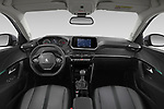 Stock photo of straight dashboard view of 2021 Peugeot 2008 Allure 5 Door SUV Dashboard