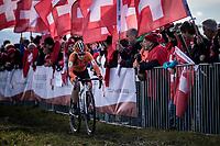 Shirin Van Anrooij (NED) solo to victory in the first ever organized Women's Junior World Championships race. <br /> <br /> Women's Junior race<br /> UCI 2020 Cyclocross World Championships<br /> Dübendorf / Switzerland<br /> <br /> ©kramon