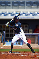 GCL Rays outfielder Garrett Whitley (20) at bat during the first game of a doubleheader against the GCL Red Sox on August 4, 2015 at Charlotte Sports Park in Port Charlotte, Florida.  GCL Red Sox defeated the GCL Rays 10-2.  (Mike Janes/Four Seam Images)
