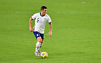 ORLANDO CITY, FL - JANUARY 31: Aaron Herrera #2 of the United States looks for an open man during a game between Trinidad and Tobago and USMNT at Exploria stadium on January 31, 2021 in Orlando City, Florida.