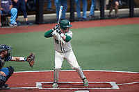 Will Butcher (18) of the Charlotte 49ers at bat against the Old Dominion Monarchs at Hayes Stadium on April 25, 2021 in Charlotte, North Carolina. (Brian Westerholt/Four Seam Images)