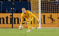 CARSON, CA - SEPTEMBER 21: Evan Bush #1 of Montreal Impact delivers a ball during a game between Montreal Impact and Los Angeles Galaxy at Dignity Health Sports Park on September 21, 2019 in Carson, California.