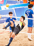 ZAIRI Afiq Aiman Zairi of Malaysia plays a shot against Korea Republic the Beach Sepaktakraw Men's team competition on Day Eight of the 5th Asian Beach Games 2016 at My Khe Beach on 01 October 2016, in Danang, Vietnam. Photo by Marcio Machado / Power Sport Images