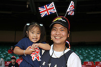 Fans for the Phillipines get ready for the start of the Olympics - Great Britain Women vs New Zealand Women - Womens Olympic Football Tournament London 2012 Group E at the Millenium Stadium, Cardiff, Wales - 25/07/12 - MANDATORY CREDIT: Gavin Ellis/SHEKICKS/TGSPHOTO - Self billing applies where appropriate - 0845 094 6026 - contact@tgsphoto.co.uk - NO UNPAID USE.