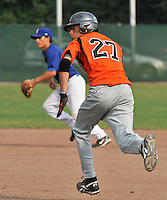 August 9, 2009:  New York Mets International Singing Bjorn Hato steals second while playing amateur baseball in Germany.  Hato, a Dutch native, signed with the Mets in 2009.  Photo By Gregor Eisenhuth/Four Seam Images