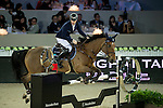 Pieter Devos on Espoir competes during Longines Speed Challenge at the Longines Masters of Hong Kong on 20 February 2016 at the Asia World Expo in Hong Kong, China. Photo by Li Man Yuen / Power Sport Images