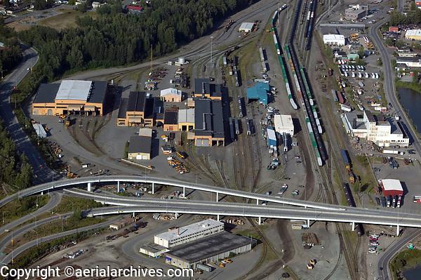 aerial photograph of Alaska Railroad headquarters and railyard,  Anchorage, Alaska