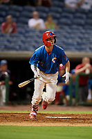 Clearwater Threshers center fielder Mickey Moniak (2) follows through on a swing during a game against the Tampa Tarpons on July 31, 2018 at Spectrum Field in Clearwater, Florida.  Clearwater defeated Tampa 4-2.  (Mike Janes/Four Seam Images)