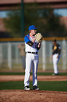 Shawn Triplett (12) of Ridgeline High School in Providence, Utah during the Baseball Factory All-America Pre-Season Tournament, powered by Under Armour, on January 13, 2018 at Sloan Park Complex in Mesa, Arizona.  (Mike Janes/Four Seam Images)