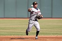 Mesa Solar Sox shortstop Brian Dozier #11 during an Arizona Fall League game against the Phoenix Desert Dogs at Phoenix Municipal Stadium on October 31, 2011 in Phoenix, Arizona.  Mesa defeated Phoenix 3-1.  (Mike Janes/Four Seam Images)
