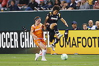 Aya Miyama #8 of the Los Angeles Sol attempts to win a loose ball against Rosana #9 of Sky Blue FC during their WPS game at Home Depot Center on May 15, 2009 in Carson, California.