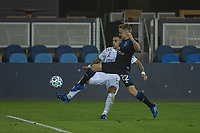 SAN JOSE, CA - SEPTEMBER 13: Tommy Thompson #22 of the San Jose Earthquakes and Cristian Pavon  #10 of the L.A. Galaxy battle for the ball during a game between Los Angeles Galaxy and San Jose Earthquakes at Earthquakes Stadium on September 13, 2020 in San Jose, California.