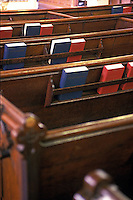 Religious books in church pews<br />