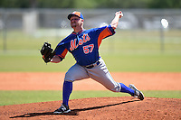 New York Mets pitcher Kelly Secrest (57) during a minor league spring training game against the St. Louis Cardinals on April 1, 2015 at the Roger Dean Complex in Jupiter, Florida.  (Mike Janes/Four Seam Images)