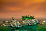 Oregon, Samuel Boardman State Park, sky is orange from smoke from 2020 forest fires<br />
