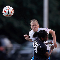 Boston Breakers defender Elli Reed (7) clears the ball. In a Women's Premier Soccer League Elite (WPSL) match, the Boston Breakers defeated New York Fury, 2-0, at Dilboy Stadium on June 23, 2012.