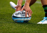 9th September 2020; Twickenham Stoop, London, England; Gallagher Premiership Rugby, London Irish versus Harlequins; Scott Steele of Harlequins picking up the official Gallagher Premiership 20/21 ball during warm up