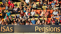 20130803 Copyright onEdition 2013 ©<br />Free for editorial use image, please credit: onEdition.<br /><br />Fans enjoying the 7s action and the summer evening warmth during the J.P. Morgan Asset Management Premiership Rugby 7s Series.<br /><br />The J.P. Morgan Asset Management Premiership Rugby 7s Series kicks off for the fourth season on Thursday 1st August with Pool A at Kingsholm, Gloucester with Pool B being played at Franklin's Gardens, Northampton on Friday 2nd August, Pool C at Allianz Park, Saracens home ground, on Saturday 3rd August and the Final being played at The Recreation Ground, Bath on Friday 9th August. The innovative tournament, which involves all 12 Premiership Rugby clubs, offers a fantastic platform for some of the country's finest young athletes to be exposed to the excitement, pressures and skills required to compete at an elite level.<br /><br />The 12 Premiership Rugby clubs are divided into three groups for the tournament, with the winner and runner up of each regional event going through to the Final. There are six games each evening, with each match consisting of two 7 minute halves with a 2 minute break at half time.<br /><br />For additional images please go to: http://www.w-w-i.com/jp_morgan_premiership_sevens/<br /><br />For press contacts contact: Beth Begg at brandRapport on D: +44 (0)20 7932 5813 M: +44 (0)7900 88231 E: BBegg@brand-rapport.com<br /><br />If you require a higher resolution image or you have any other onEdition photographic enquiries, please contact onEdition on 0845 900 2 900 or email info@onEdition.com<br />This image is copyright the onEdition 2013©.<br /><br />This image has been supplied by onEdition and must be credited onEdition. The author is asserting his full Moral rights in relation to the publication of this image. Rights for onward transmission of any image or file is not granted or implied. Changing or deleting Copyright information is illegal as specified in the Copyright, Design and Patents Act 1988