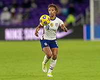 ORLANDO, FL - JANUARY 18: Crystal Dunn #19 of the USWNT controls the ball during a game between Colombia and USWNT at Exploria Stadium on January 18, 2021 in Orlando, Florida.