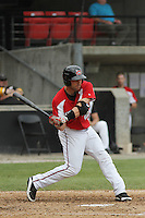 Carolina Mudcats left fielder Anthony Gallas #28 at bat during a game against the Lynchburg Hillcats at Five County Stadium on April 26, 2012 in Zebulon, North Carolina. Carolina defeated Lynchburg by the score of 8-5. (Robert Gurganus/Four Seam Images)
