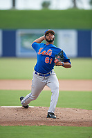 GCL Mets starting pitcher Jaison Vilera (61) delivers a pitch during the first game of a doubleheader against the GCL Nationals on July 22, 2017 at The Ballpark of the Palm Beaches in Palm Beach, Florida.  GCL Mets defeated the GCL Nationals 1-0 in a seven inning game that originally started on July 17th.  (Mike Janes/Four Seam Images)