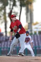 Trevor Cahill #29 of the Visalia Rawhide pitches against the Inland Empire 66ers at San Manuel Stadium on June 12, 2014 in San Bernardino, California. Inland Empire defeated Visalia, 4-2. (Larry Goren/Four Seam Images)