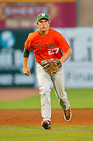 Miami Hurricanes third baseman Brad Fieger #27 charges towards home plate during the game against the Wake Forest Demon Deacons at NewBridge Bank Park on May 25, 2012 in Winston-Salem, North Carolina.  The Hurricanes defeated the Demon Deacons 6-3.  (Brian Westerholt/Four Seam Images)