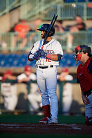 Mahoning Valley Scrappers Aaron Bracho (12) at bat during a NY-Penn League game against the State College Spikes on August 29, 2019 at Eastwood Field in Niles, Ohio.  State College defeated Mahoning Valley 8-1.  (Mike Janes/Four Seam Images)