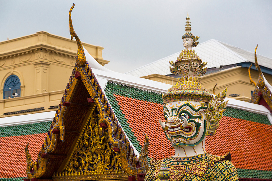 Bangkok, Thailand.  Demon Guardian (Yaksha) in the Royal Grand Palace Grounds.