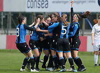 20180414 - AALTER , BELGIUM : Brugge's team pictured celebrating their goals and lead during the 21st matchday in the 2e Nationale Women's league , a womensoccer game between Club Brugge Dames and GFA Sinaai , in Aalter , saturday 15 th April 2018 . PHOTO SPORTPIX.BE   DAVID CATRY