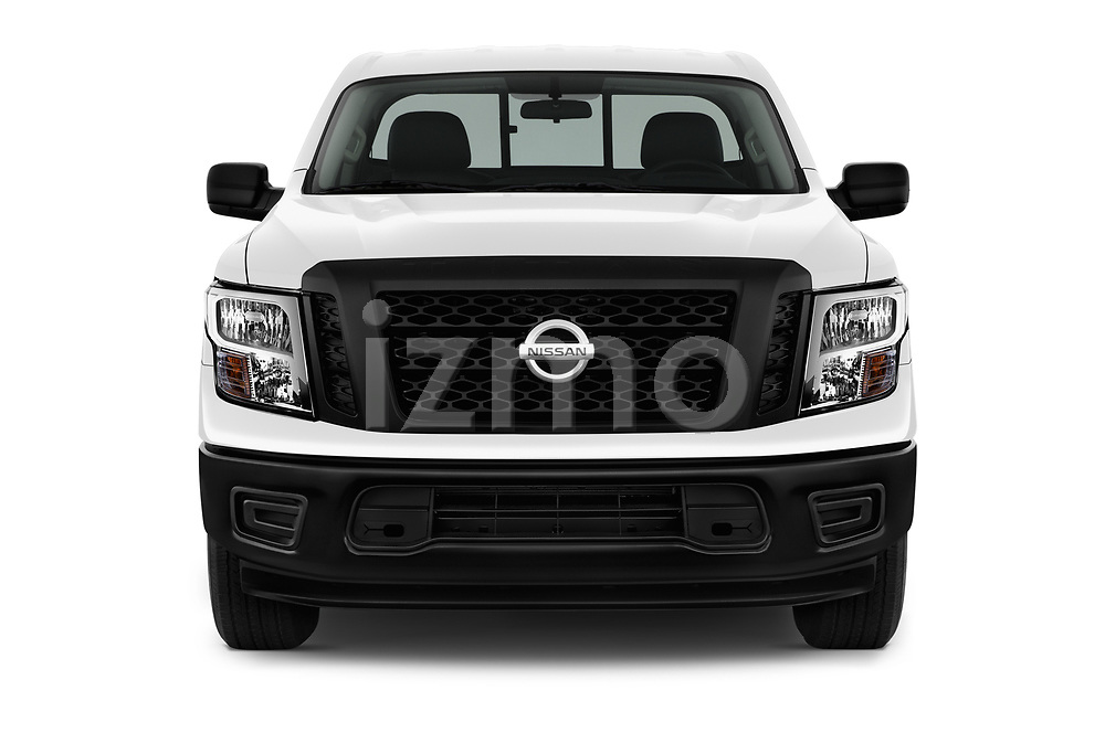 Car photography straight front view of a 2017 Nissan Titan S-Single 2 Door Pick-up Front View