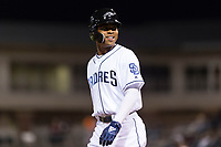 AFL West left fielder Buddy Reed (85), of the Peoria Javelinas and San Diego Padres organization, celebrates after hitting a triple in the bottom of the ninth inning during the Fall Stars game at Surprise Stadium on November 3, 2018 in Surprise, Arizona. The AFL West defeated the AFL East 7-6 . (Zachary Lucy/Four Seam Images)