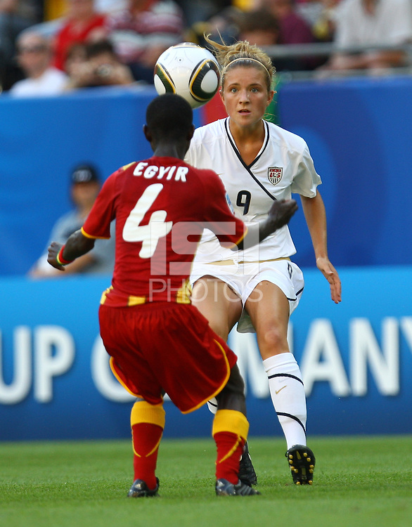 USA's Kristie Mewis (R) and Janet Egyir of Ghana during the FIFA U20 Women's World Cup at the Rudolf Harbig Stadium in Dresden, Germany on July 14th, 2010.
