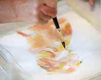 Artist Beth Woessner begins a watercolor painting of a dog Thursday, Sept. 9, 2021, while teaching a class at her home studio in Tontitown. Woessner's students were learning to paint a portrait of their pet in watercolor. Visit nwaonline.com/210910Daily/ for today's photo gallery.<br /> (NWA Democrat-Gazette/Andy Shupe)