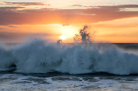 Sunset and waves at Hapuna Beach. Hawaii Island