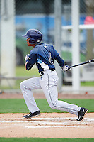 GCL Rays shortstop Kevin Santiago (4) at bat during the second game of a doubleheader against the GCL Red Sox on August 9, 2016 at JetBlue Park in Fort Myers, Florida.  GCL Rays defeated GCL Red Sox 9-1.  (Mike Janes/Four Seam Images)