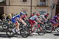 spotting red jersey (overall leader) Primoz Roglic (SVK/Jumbo-Visma) in the peloton<br /> <br /> Stage 17: Aranda de Duero to Guadalajara (220km)<br /> La Vuelta 2019<br /> <br /> ©kramon