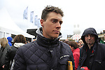 Defending Champion Niki Terpstra (NED) Etixx-Quick Step at the Team Presentations in Compiegne before the 2015 Paris-Roubaix cycle race held over the cobbled roads of Northern France. 11th April 2015.<br /> Photo: Eoin Clarke www.newsfile.ie