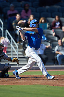 Matt Mervis (20) of the Duke Blue Devils follows through on his swing against the Coastal Carolina Chanticleers at Segra Stadium on November 2, 2019 in Fayetteville, North Carolina. (Brian Westerholt/Four Seam Images)